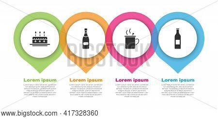 Set Cake With Burning Candles, Champagne Bottle, Mulled Wine And Beer Bottle. Business Infographic T