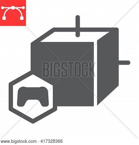 Gaming Nft Glyph Icon, Unique Token And Nft Blockchain, Non Fungible Token Vector Icon, Vector Graph