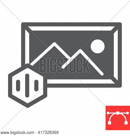 Art To Nft Glyph Icon, Unique Token And Picture With Nft, Non Fungible Token Vector Icon, Vector Gra