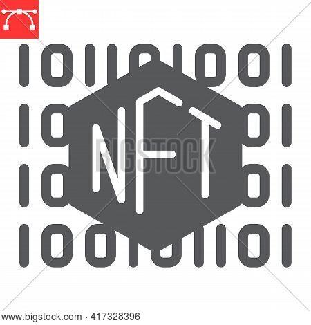 Nft Code Glyph Icon, Unique Token And Non Fungible Token, Nft Vector Icon, Vector Graphics, Editable