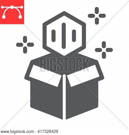 Open Cardboard Box With Nft Glyph Icon, Unique Token And Blockchain, Non Fungible Token Vector Icon,