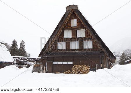 Traditional Gassho Style House In Shirakawa-go Village In Winter, Gifu, Japan. Shirakawa-go Village