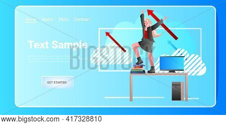 Overworked Businesswoman Standing On Workplace Desk Deadline Business Success Concept Full Length