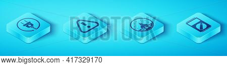 Set Isometric Electric Plug, Exclamation Mark In Triangle, Multimeter And Ampere Meter, Multimeter,