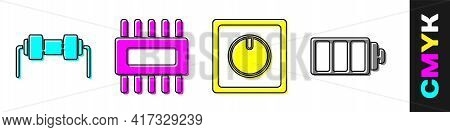 Set Resistor Electricity, Processor With Microcircuits Cpu, Electric Light Switch And Battery Charge