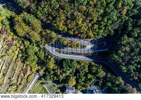 Winding Road Serpentine From A High Mountain Pass In The Mosel Village Brodenbach Germany Aerial Vie