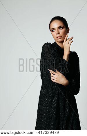 Attractive Brunette Bright Makeup Black Dress Side Glance