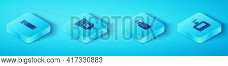 Set Isometric Shaving Gel Foam, Epilator, Bottle Of Shampoo And Icon. Vector