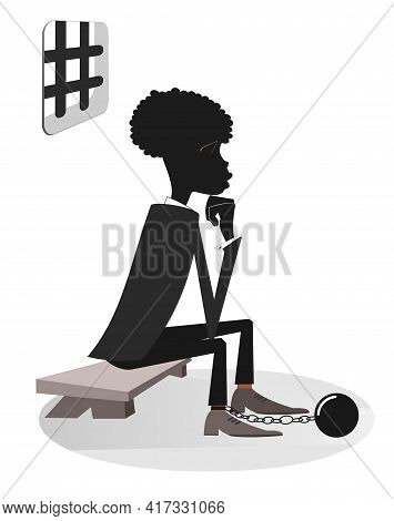 African Man In The Prison Illustration. Sad Prisoner African Man In Shackles Is Sitting On The Bench