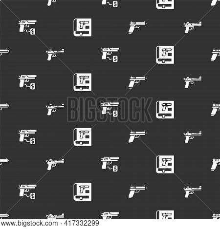Set Pistol Or Gun, Desert Eagle, Buying Pistol And Book With On Seamless Pattern. Vector