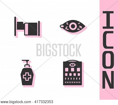 Set Eye Test Chart, Hospital Bed, Liquid Antibacterial Soap And Reddish Eye Icon. Vector