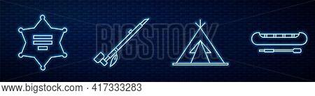 Set Line Indian Teepee Or Wigwam, Hexagram Sheriff, Native American Indian Smoking Pipe, Kayak Or Ca