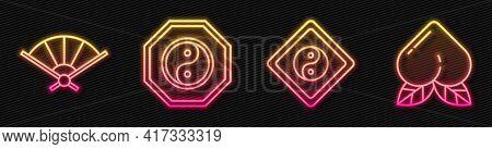 Set Line Yin Yang, Paper Chinese Folding Fan, Yin Yang And Peach Fruit. Glowing Neon Icon. Vector