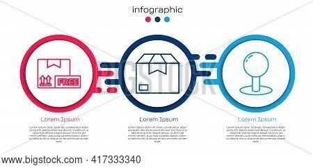 Set Line Cardboard Box With Free Symbol, Carton Cardboard Box And Push Pin. Business Infographic Tem