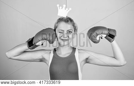 Victory Concept. Sport Success. Achieve Success. Celebrate Success. Queen Of Boxing Ring. Sportswoma