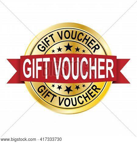 Gift Voucher Gold Medal. Vector Illustration. Design For Invitation, Certificate, Gift Coupon, Ticke