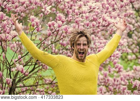 Summer Holidays. Sexy Guy Blooming Magnolia Flower Tree. Feel Refreshed. Happy Easter. Sakura Smell.