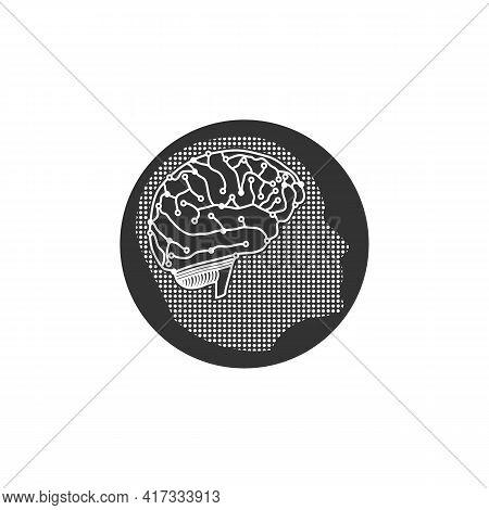 Illustration Vector Design Graphic Of Logo Human Head With Tech Brain