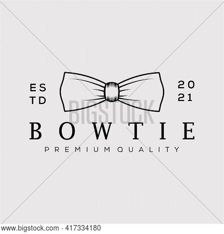 Vintage Bow Tie Line Art Logo Vector Illustration Design. Minimalist Fashion Man Symbol