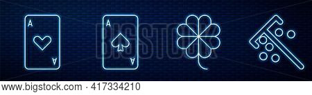 Set Line Casino Slot Machine With Clover, Playing Card With Heart, Playing Card With Spades And Stic