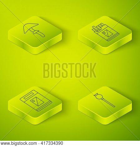 Set Isometric Open Cigarettes Pack Box, Cigarettes Pack Box, Opium Poppy And Psilocybin Mushroom Ico