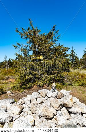 Szklarska Poreba, Poland - June 3 2020: Pile Of Stones At Highest Peak Of Wysoka Kopa In Jizera Moun
