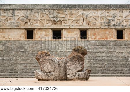 Double Headed Jaguar Throne In Front Of Mayan Governors Palace At Uxmal, Yucatan, Mexico
