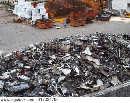 A Large Pile Of Scrap Metal Collected At The Metal Collection Point.