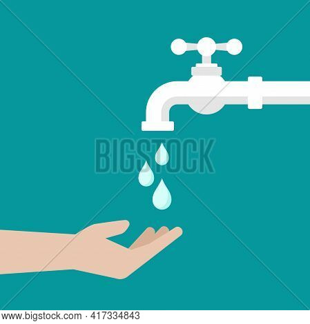 Open Hand And Water Tap With Classic Old Valve And Water Drops. Flat Icon Isolated On Blue. Turn On