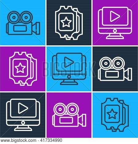 Set Line Cinema Camera, Online Play Video And Cinema Ticket Icon. Vector