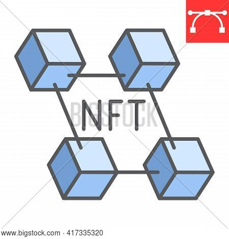 Nft Blockchain Color Line Icon, Unique Token And Blockchain, Non Fungible Token Vector Icon, Vector