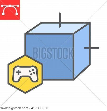 Gaming Nft Color Line Icon, Unique Token And Nft Blockchain, Non Fungible Token Vector Icon, Vector