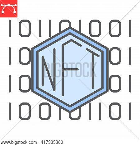 Nft Code Color Line Icon, Unique Token And Non Fungible Token, Nft Vector Icon, Vector Graphics, Edi