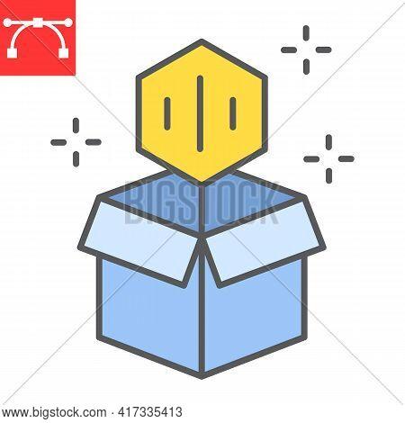 Open Cardboard Box With Nft Color Line Icon, Unique Token And Blockchain, Non Fungible Token Vector