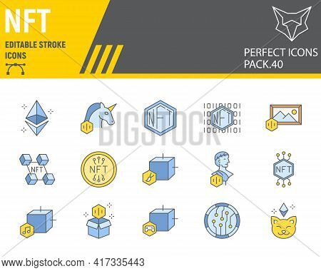 Nft Color Line Icon Set, Non Fungible Token Collection, Vector Graphics, Logo Illustrations, Nft Blo