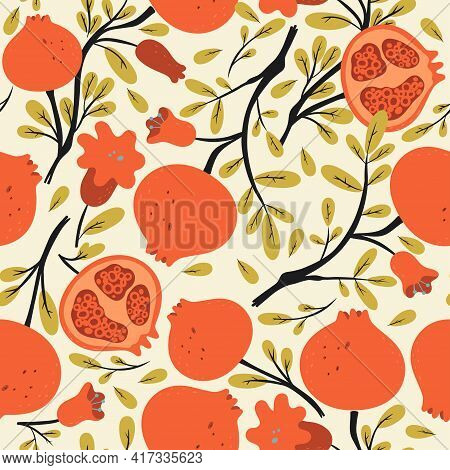 Seamless Pattern With Pomegranates On The Branches. Vector Image.