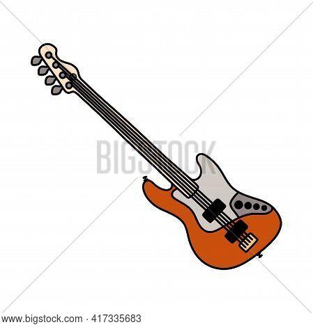 Bass Guitar. Musical Instrument Sketch. Cartoon Color Vector Illustration. Flat Icon
