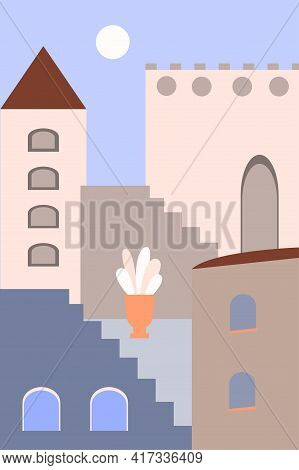 Minimalist Landscape Of The Old City In The Boho Style. Summer Boho Design For Souvenir Shops, Trave