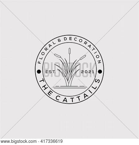 Vegetarian Restaurant Minimalist Line Art Badge Logo Template Vector Illustration Design. Simple Cat