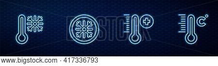Set Line Meteorology Thermometer, Thermometer With Snowflake, Snowflake And . Glowing Neon Icon On B