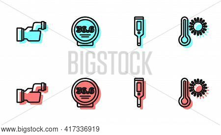 Set Line Digital Thermometer, Checking Body Temperature, Medical And Meteorology Icon. Vector