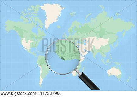 Map Of The World With A Magnifying Glass On A Map Of Liberia Detailed Map Of Liberia And Neighboring