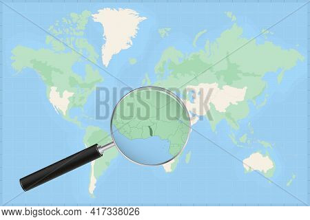 Map Of The World With A Magnifying Glass On A Map Of Togo Detailed Map Of Togo And Neighboring Count
