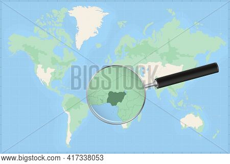 Map Of The World With A Magnifying Glass On A Map Of Nigeria Detailed Map Of Nigeria And Neighboring