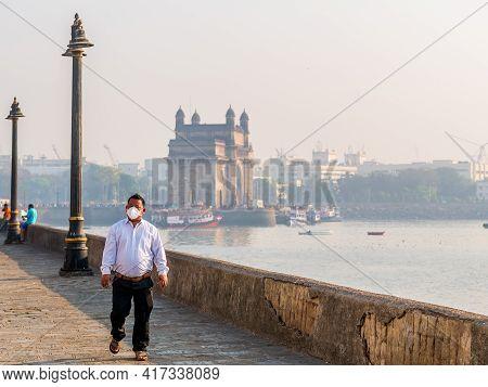 Mumbai, India - January 7, 2021: Unidentified Manwearing A Face Mask Relating To Covid-19/coronavir