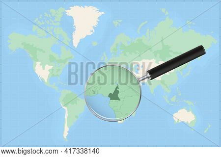 Map Of The World With A Magnifying Glass On A Map Of Cameroon Detailed Map Of Cameroon And Neighbori
