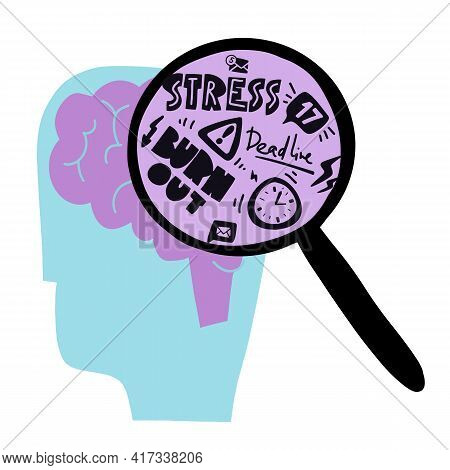 A Head With A Brain. Loupe With Emotions And Thinking About Problem. Mental Health And Everyday Prob
