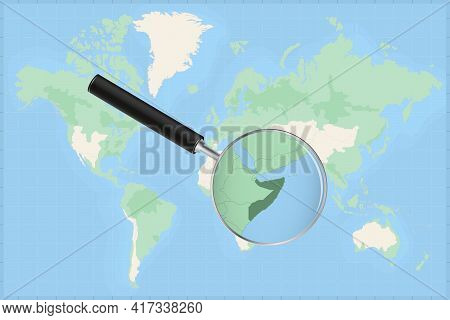 Map Of The World With A Magnifying Glass On A Map Of Somalia Detailed Map Of Somalia And Neighboring