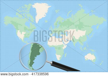 Map Of The World With A Magnifying Glass On A Map Of Argentina Detailed Map Of Argentina And Neighbo