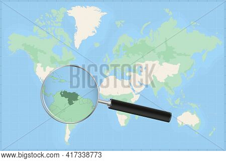 Map Of The World With A Magnifying Glass On A Map Of Venezuela Detailed Map Of Venezuela And Neighbo